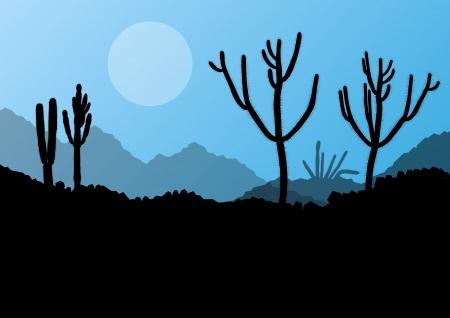 Desert cactus plants wild nature landscape illustration background vector Vector