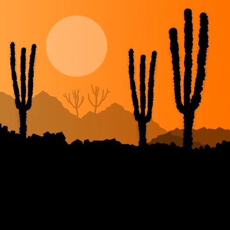 dune: Desert cactus plants wild nature landscape illustration background vector