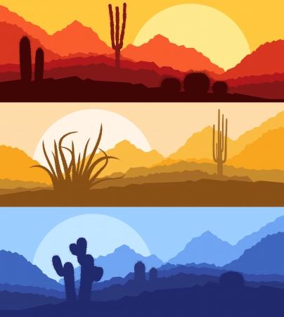 birds desert: Desert cactus plants wild nature landscape illustration background vector