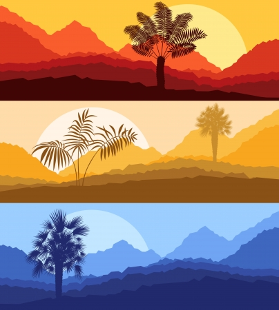 sunset painting: Palms and sun, tropical sunset vector background landscape Illustration