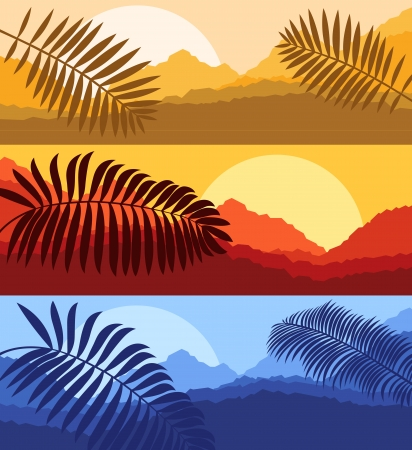 Sunset landscape vector: Palms and sun, tropical sunset vector background landscape Hình minh hoạ