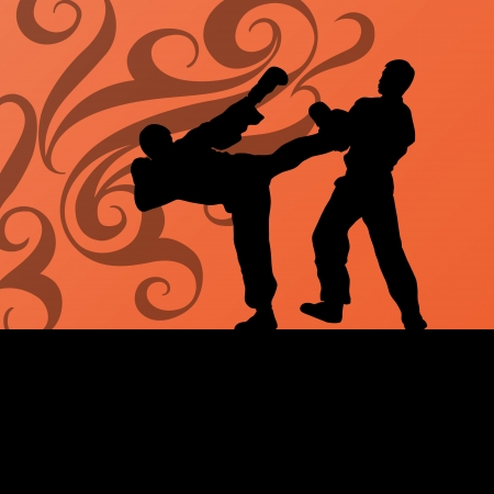 tae: Active tae kwon do martial arts fighters combat fighting and kicking sport silhouettes illustration background vector
