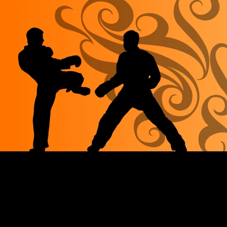 Active tae kwon do martial arts fighters combat fighting and kicking sport silhouettes illustration background vector Stock Vector - 22893767
