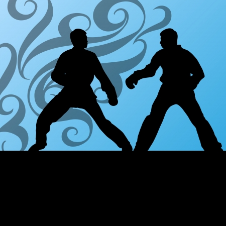 Active tae kwon do martial arts fighters combat fighting and kicking sport silhouettes illustration background vector Stock Vector - 22893768