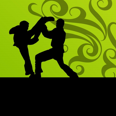 Active tae kwon do martial arts fighters combat fighting and kicking sport silhouettes illustration background vector Stock Vector - 22893769