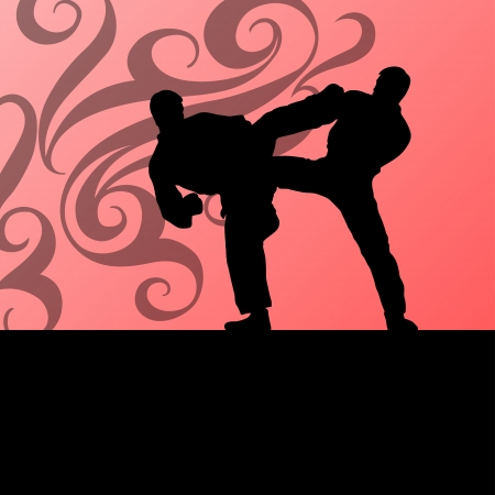 Active tae kwon do martial arts fighters combat fighting and kicking sport silhouettes illustration background vector Stock Vector - 22893770