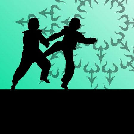 Active tae kwon do martial arts fighters combat fighting and kicking sport silhouettes illustration background vector Stock Vector - 22893773