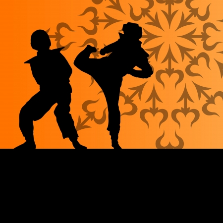 Active tae kwon do martial arts fighters combat fighting and kicking sport silhouettes illustration background vector Stock Vector - 22893774