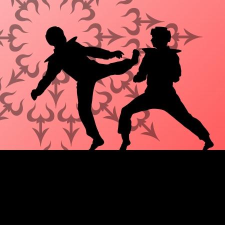 tae: Activo taekwondo artes marciales combatientes de combate luchando y pateando deporte siluetas ilustraci�n de fondo vector