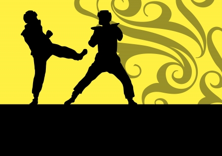 Active tae kwon do martial arts fighters combat fighting and kicking sport silhouettes illustration background vector Stock Vector - 22893779