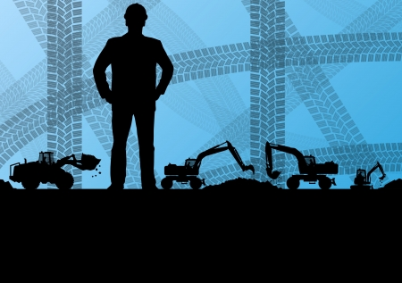 heavy machinery: Engineer woman with excavator loaders and tractors digging at industrial construction site vector background illustration Illustration