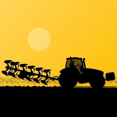 tillage: Agricoltura trattore arare la terra coltivata nel paese campo di grano paesaggio di sfondo illustrazione vettoriale