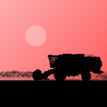 Agricultural combine harvester in grain field seasonal farming landscape scene illustration background vector Vector
