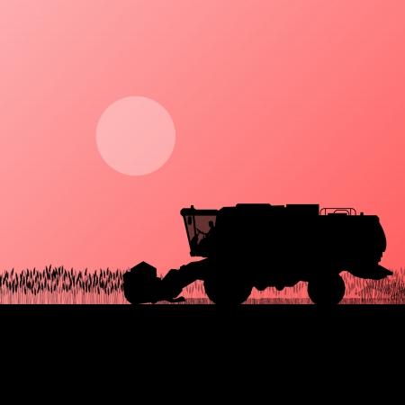 harvester: Agricultural combine harvester in grain field seasonal farming landscape scene illustration background vector