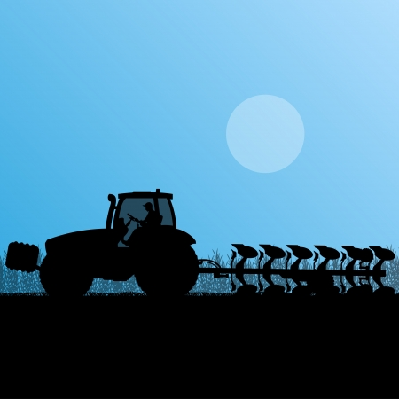 labranza: Agricultura tractor arando la tierra cultivada de cereales pa�s campo paisaje de fondo ilustraci�n vectorial Vectores