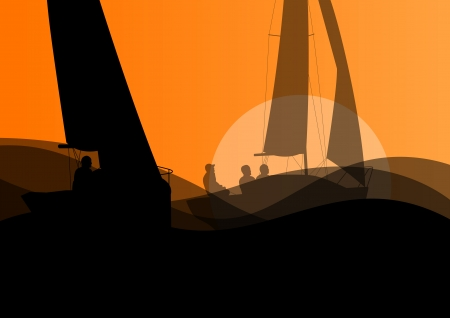 regatta: Yacht sports sailing with active men in sea and ocean background illustration vector Illustration