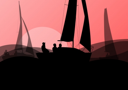 ocean background: Yacht sports sailing with active men in sea and ocean background illustration vector Illustration