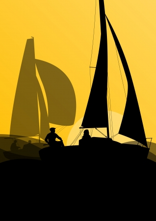 small boat: Yacht sports sailing with active men in sea and ocean background illustration vector Illustration