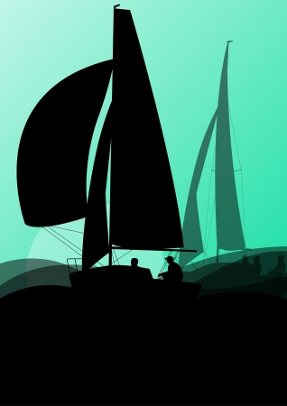 yacht race: Yacht sports sailing with active men in sea and ocean background illustration vector Illustration