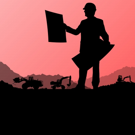diggers: Engineers with excavator loaders and tractors digging at industrial construction site vector background illustration