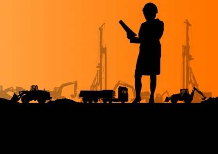 Engineers with excavator loaders and tractors digging at industrial construction site vector background illustration Vector