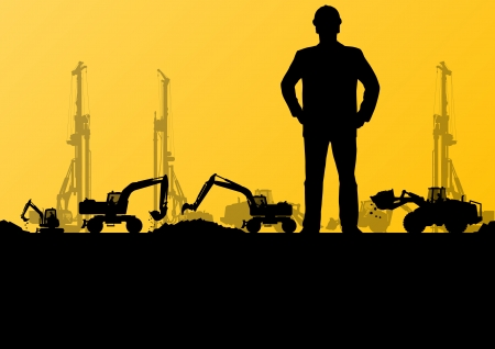 machinery: Engineers with excavator loaders and tractors digging at industrial construction site vector background illustration