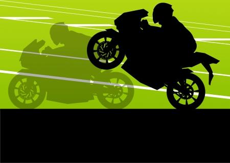 motorizado: Motociclistas deportivos y motocicletas siluetas ilustración de fondo vectoriales
