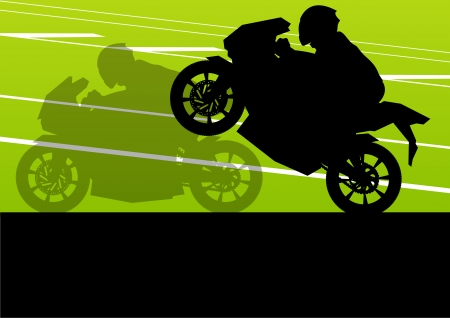 motorized sport: Sport motorbike riders and motorcycles silhouettes illustration background vector
