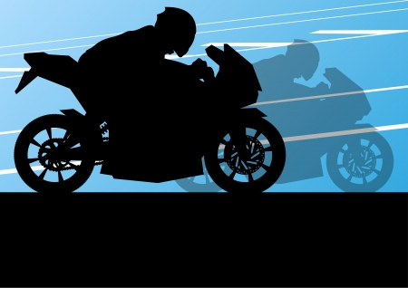 Sport motorbike riders and motorcycles silhouettes illustration background vector Stock Vector - 22893834