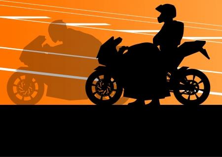 jinete: Motociclistas deportivos y motocicletas siluetas ilustración de fondo vectoriales