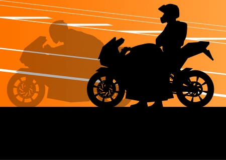 motorcycle rider: Sport motorbike riders and motorcycles silhouettes illustration background vector