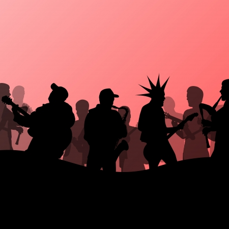 punk rock: Rock concert various musicians abstract landscape background illustration vector