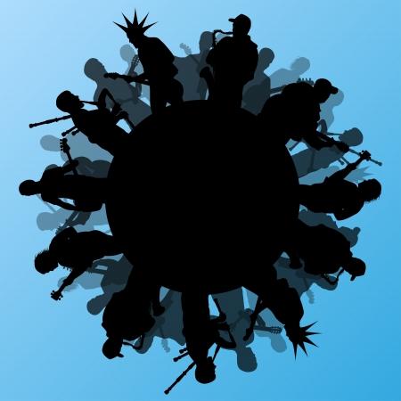 manos aplaudiendo: Concierto de rock varios músicos paisaje abstracto ilustración vectorial