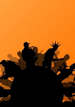 Rock concert various musicians abstract landscape background illustration vector Vector