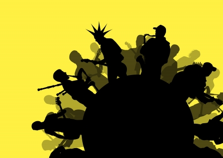 musician silhouette: Rock concert various musicians abstract landscape background illustration vector