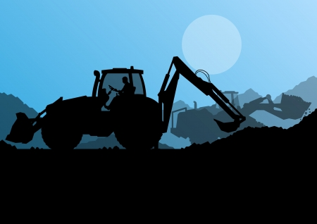 Excavator loaders, hydraulic pile drilling machines, tractors and workers digging at industrial construction site vector background illustration Vector