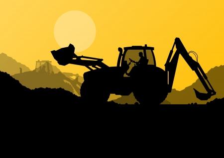 idraulico: Caricatori escavatori, macchine di perforazione pali idraulici, trattori e lavoratori di scavo presso industriale sito di costruzione sfondo illustrazione vettoriale