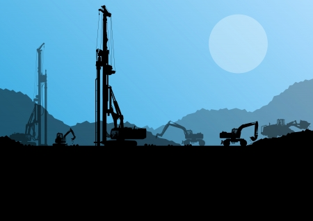 excavating machine: Excavator loaders, hydraulic pile drilling machines, tractors and workers digging at industrial construction site vector background Illustration