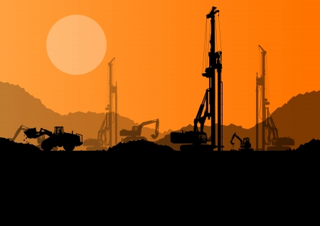 oil: Excavator loaders, hydraulic pile drilling machines, tractors and workers digging at industrial construction site vector background Illustration