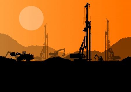 Graafmachine laders, hydraulische stapel boormachines, tractoren en werknemers graven op industriële bouwplaats vector achtergrond Vector Illustratie