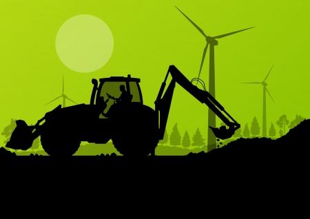 idraulico: Caricatori escavatori, macchine mucchio di perforazione idrauliche, trattori e dei lavoratori di scavo presso industriale cantiere sfondo illustrazione vettoriale