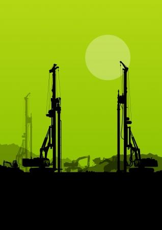 idraulico: Caricatori escavatori, macchine mucchio di perforazione idrauliche, trattori e operai che scavano in costruzione industriale sito vettore sfondo