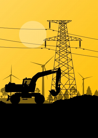 Wind electricity generators with construction worker excavator and electricity line in countryside field landscape ecology illustration background vector Vector