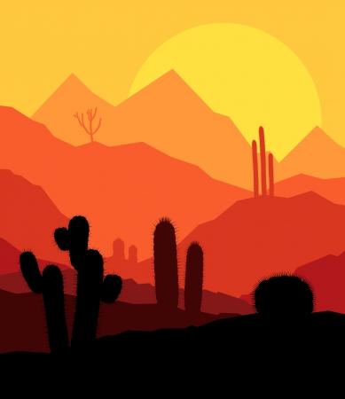 desert vegetation: Desert cactus plants wild nature landscape illustration background vector