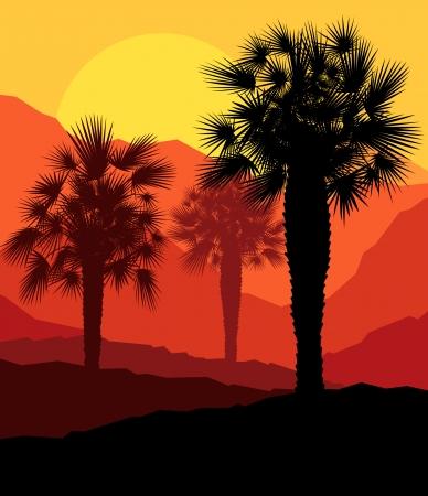 Palms coucher du soleil tropical mystérieux paysage de vecteur de fond Vecteurs