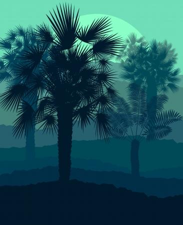Sunset landscape vector: Palms hoàng hôn nhiệt đới vector bí ẩn cảnh nền
