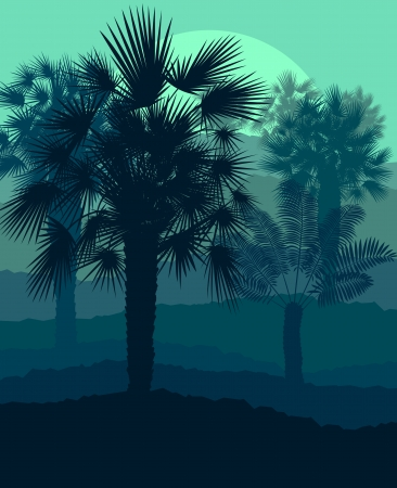 sunset painting: Palms tropical sunset mysterious vector background landscape