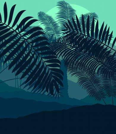 Palms coucher du soleil tropical mystérieux paysage de vecteur de fond