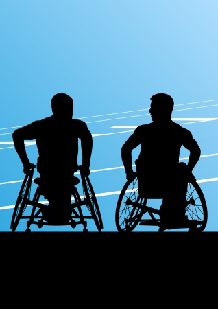 hopelessness: Active disabled men in a wheelchair detailed sport concept silhouette illustration background vector Illustration