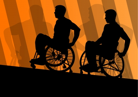 disabled sports: Active disabled men in a wheelchair detailed sport concept silhouette illustration background vector Illustration